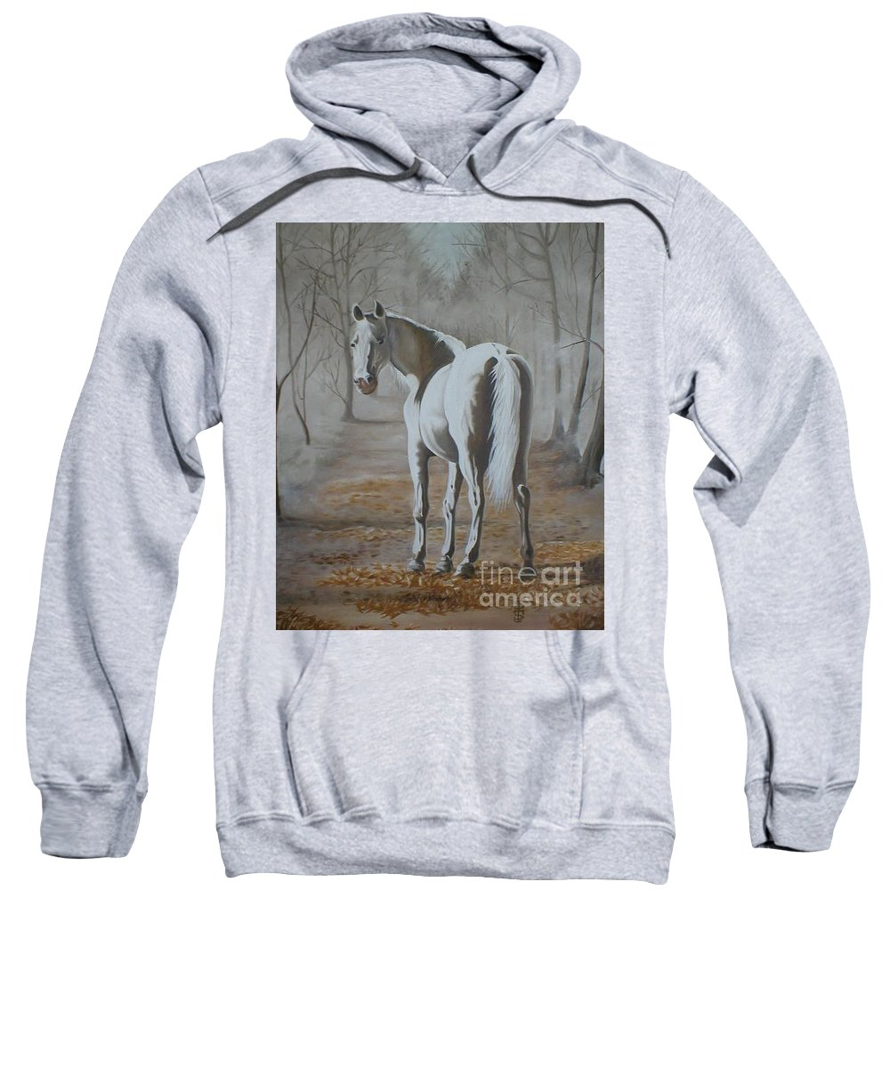 White Horse Looking Autumn Leaves Trees Avenue Shadows Sweatshirt featuring the painting Are You Coming by Pauline Sharp