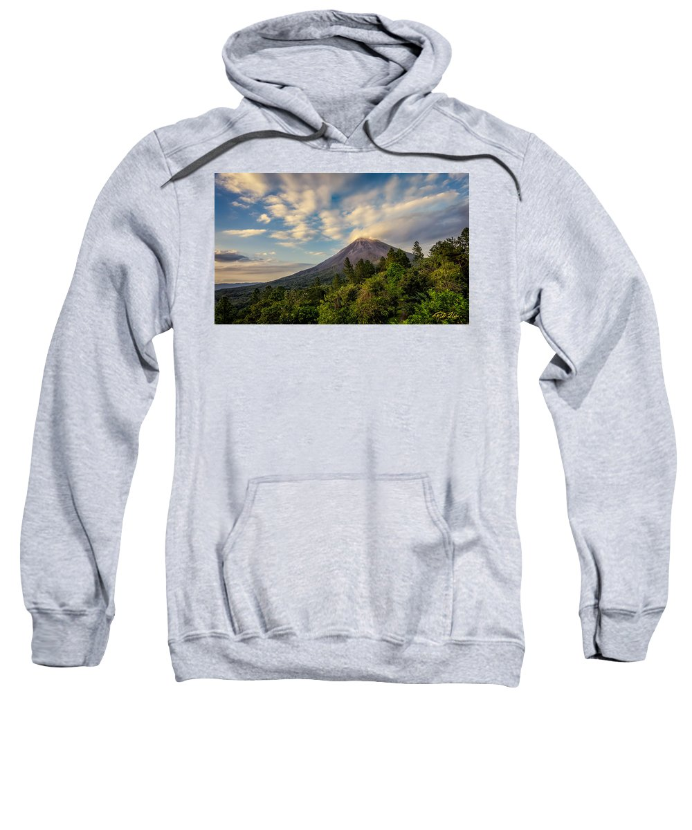 Costa Rica Sweatshirt featuring the photograph Arenal At The Sun's Last Touch by Rikk Flohr