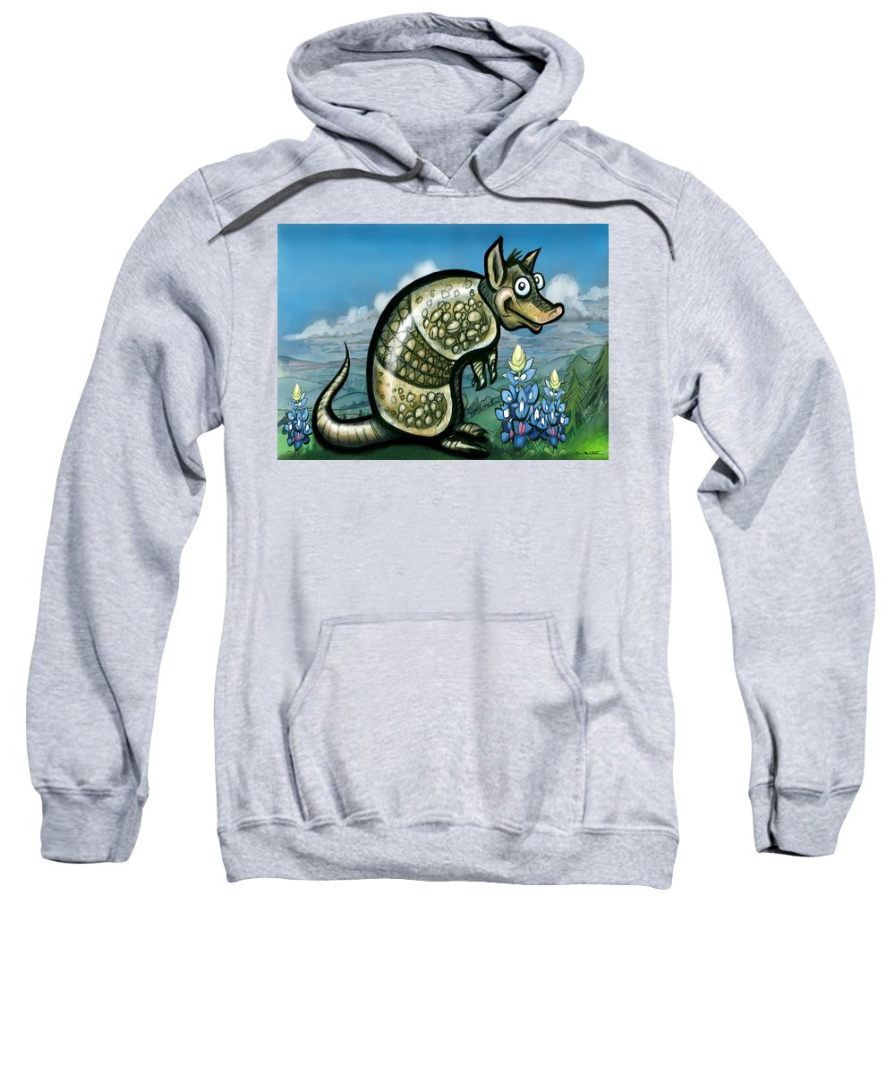 Armadillo Sweatshirt featuring the painting Armadillo N Bluebonnets by Kevin Middleton