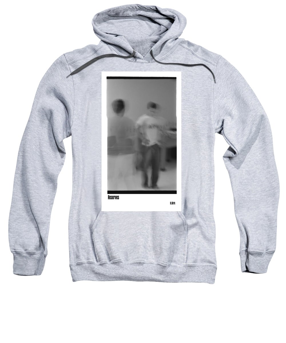 Photo Photography Black And White Digital Graphic Photoshop Head Neck Arm Body Leg Foot Feet Knee Room Floor Wall Door Rules Exit Inverse Negative Dark Army Military Ghost Motion Sweatshirt featuring the photograph Army by Heather Kirk