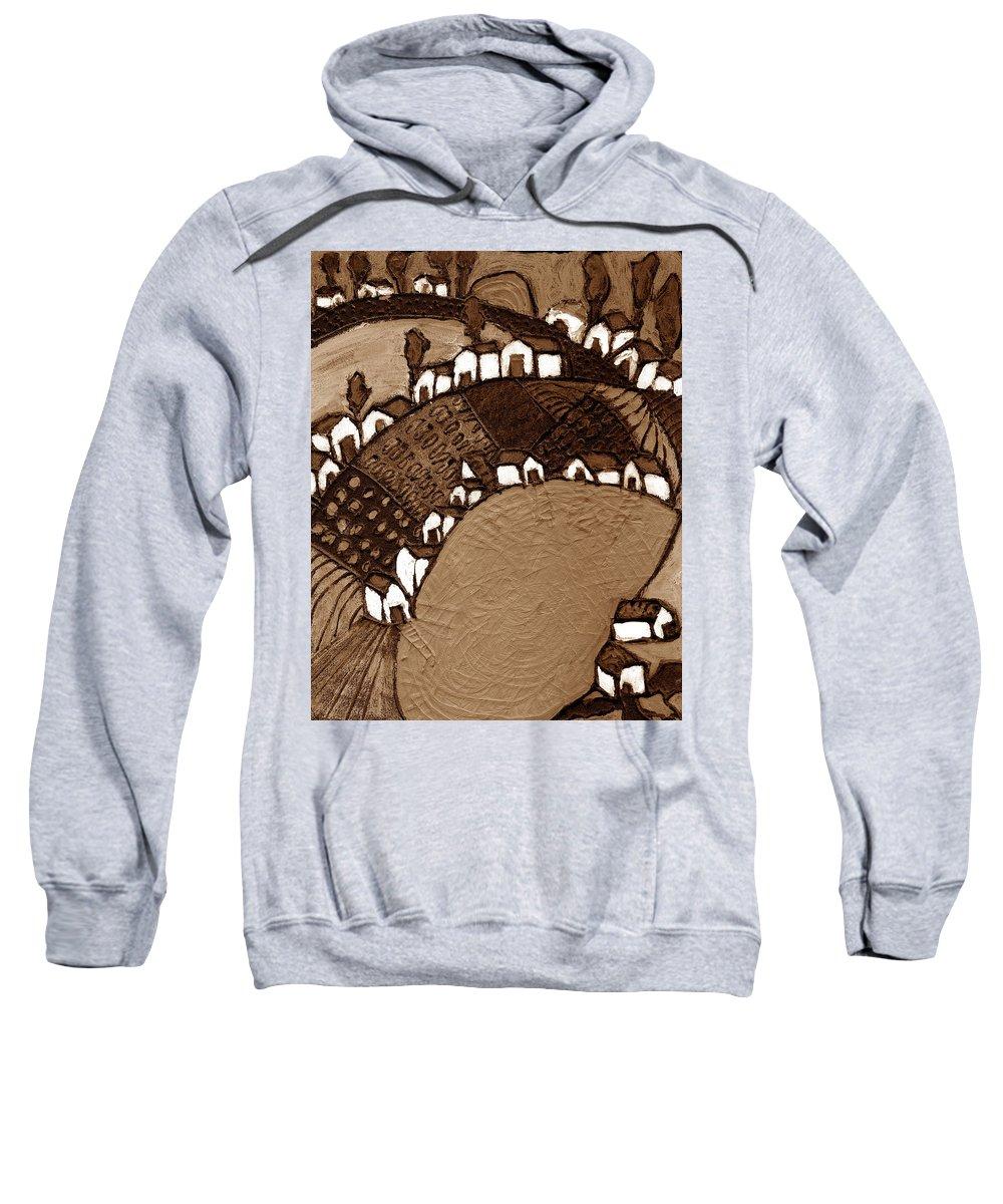 Pond Sweatshirt featuring the painting Around The Pond Sepia by Wayne Potrafka