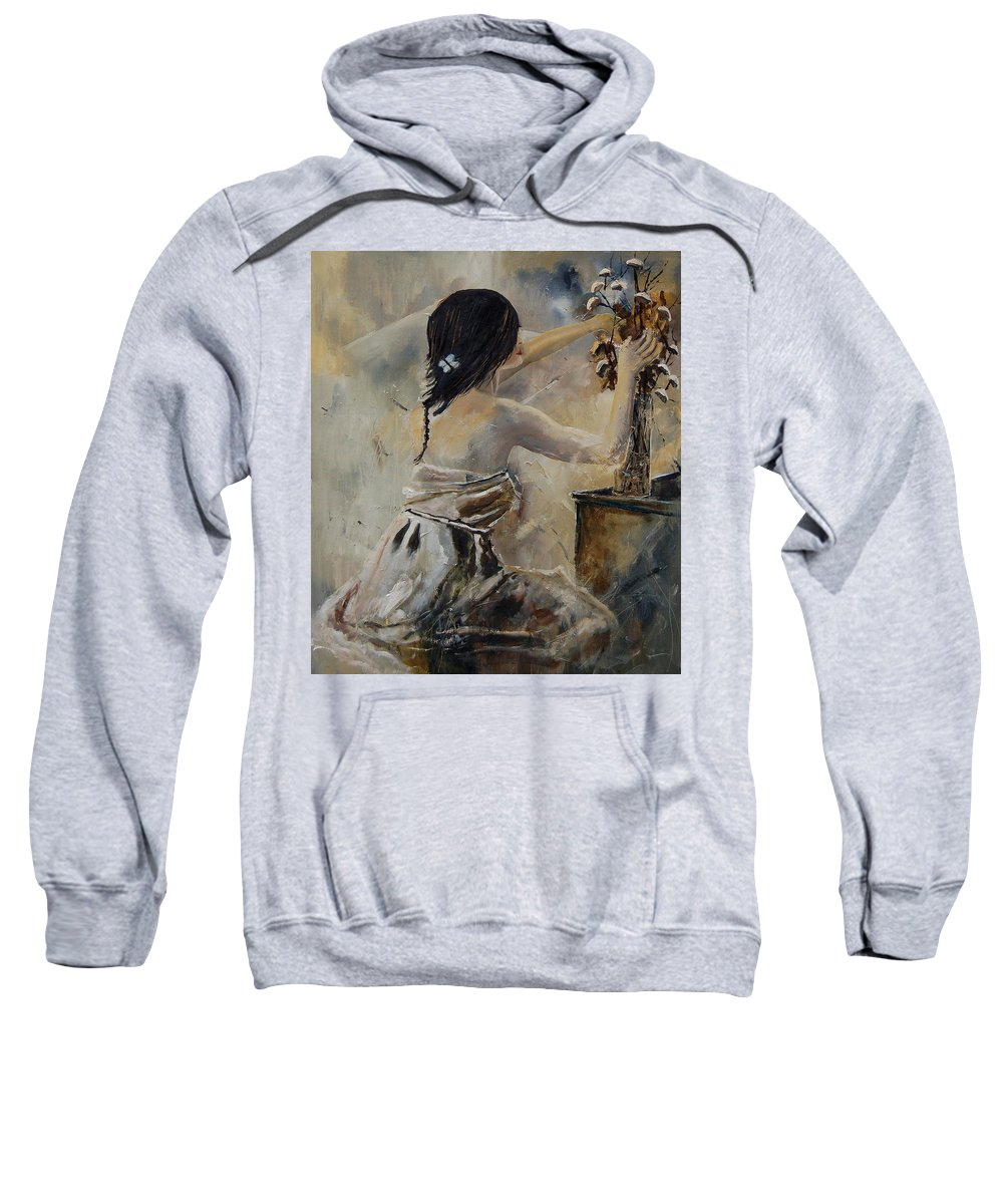 Girl Sweatshirt featuring the painting Arranging Flowers by Pol Ledent