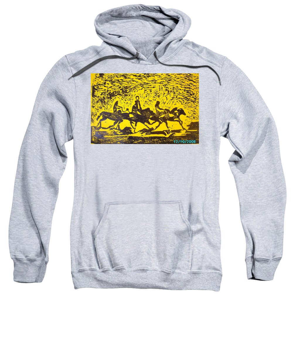 Arrival Sweatshirt featuring the mixed media Arrival by Olaoluwa Smith