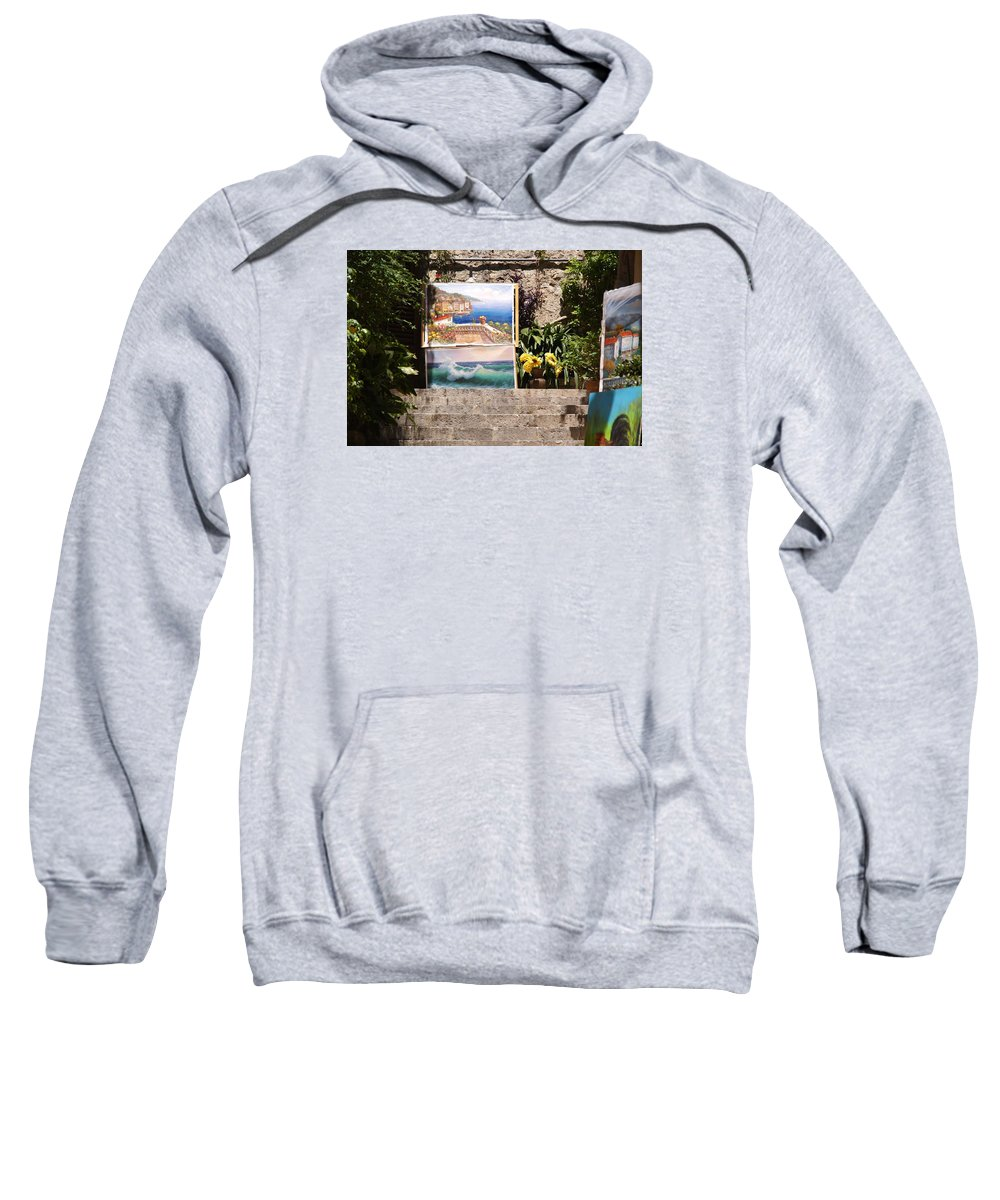 Art Sweatshirt featuring the photograph Art At Top Of Stairs by Ron Koivisto