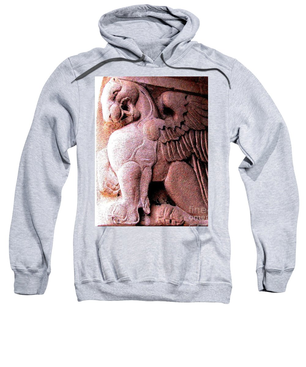 Winged Griffin Photograph Sweatshirt featuring the photograph Art Deco Griffin Circa 1925 by Peter Ogden