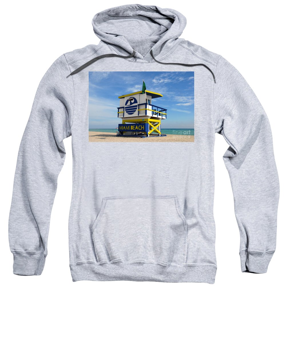 Miami Beach Sweatshirt featuring the photograph Art Deco Lifeguard Stand by David Lee Thompson