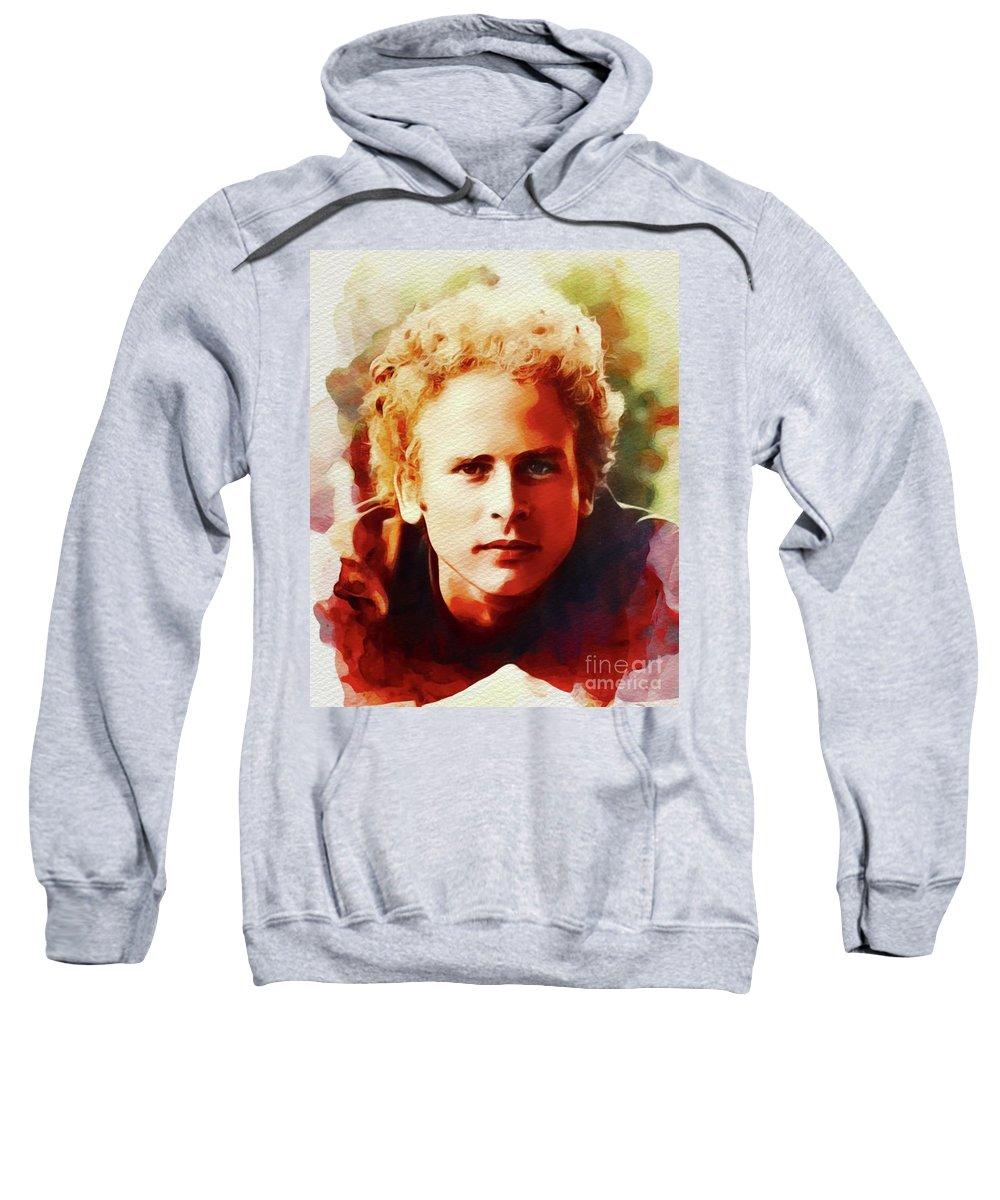 Art Sweatshirt featuring the painting Art Garfunkel, Music Legend by John Springfield