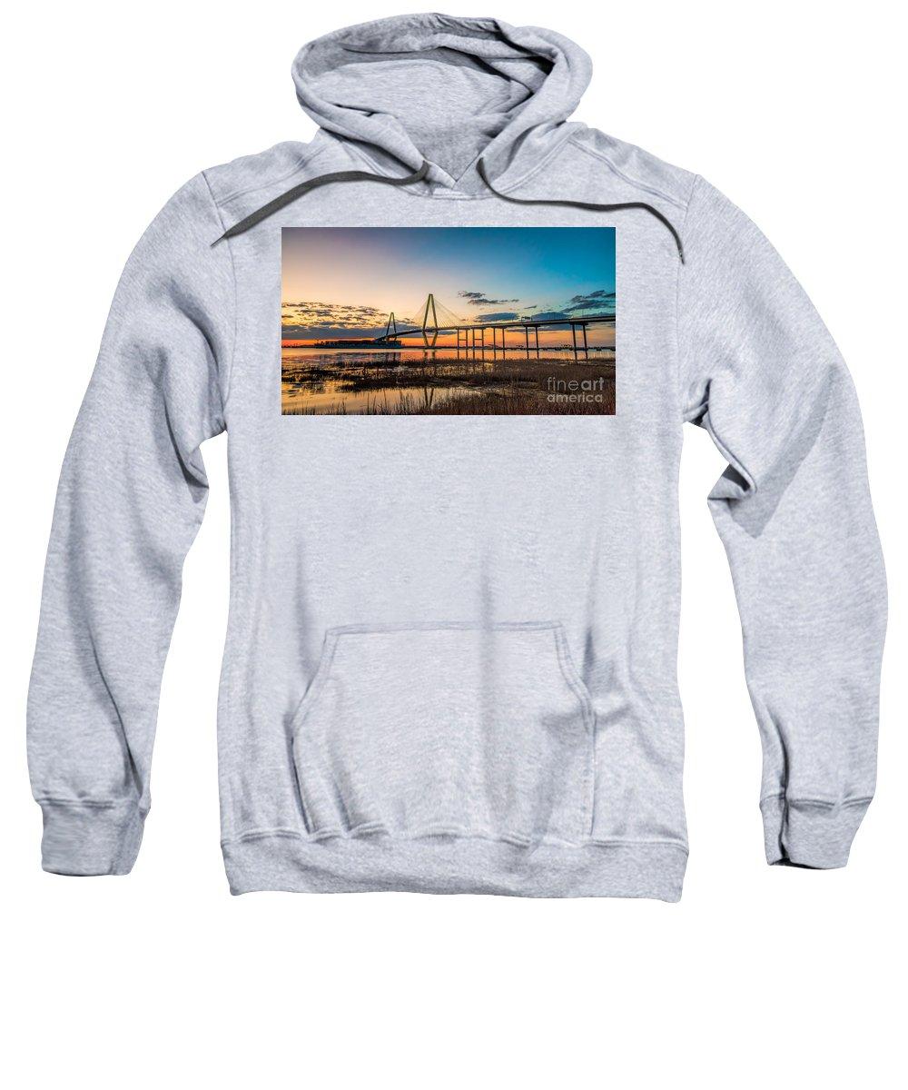 Arthur Ravenel Sky Bridge Sweatshirt featuring the photograph Arthur Ravenel Jr. Bridge At Dusk by Robert Loe