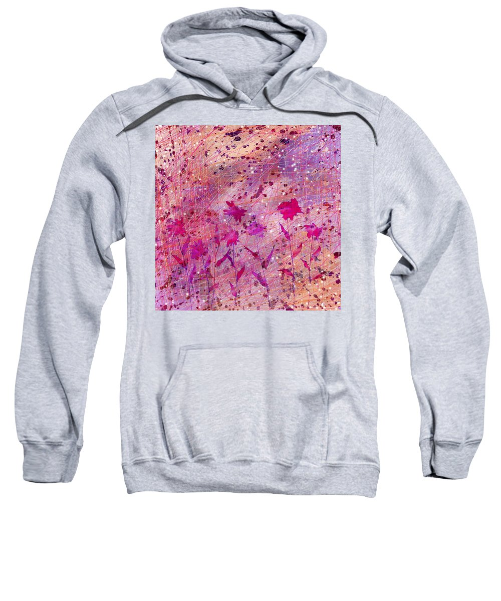 Abstract Sweatshirt featuring the digital art Artificial Flowers by Rachel Christine Nowicki