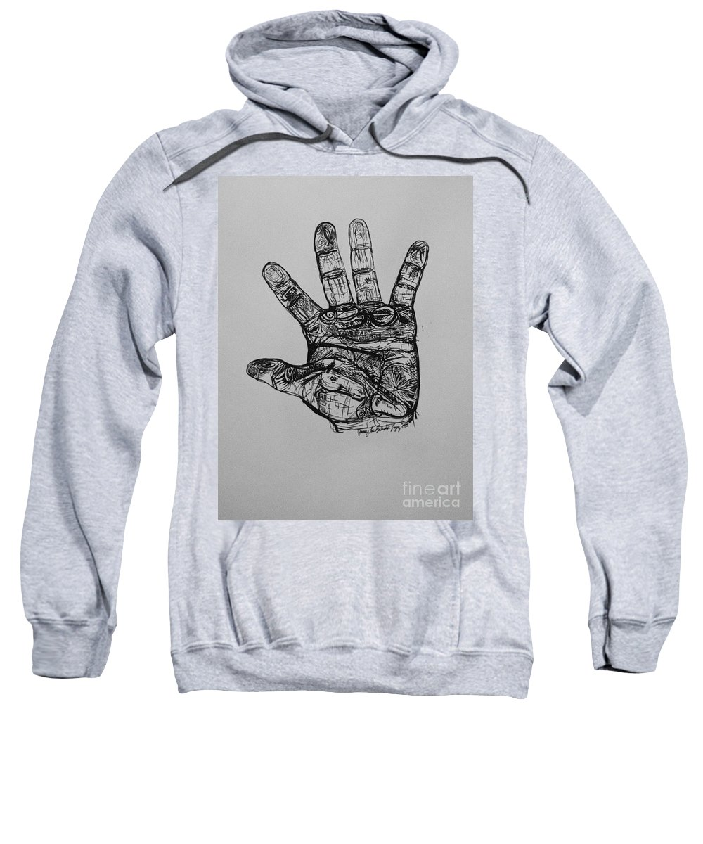 Hands Sweatshirt featuring the drawing Artist Hand Variation I by Jamey Balester