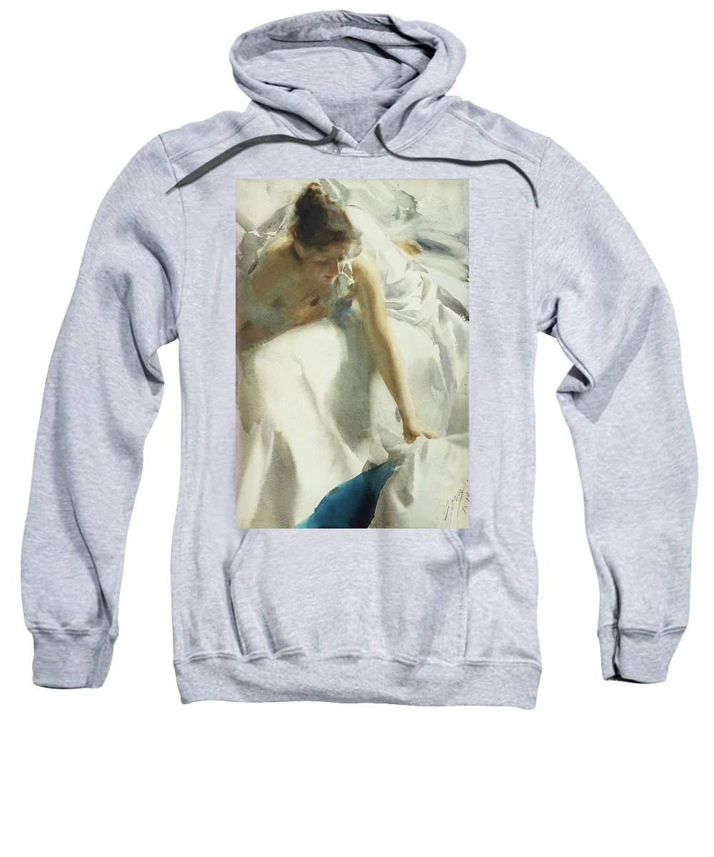 Anders Zorn (1860-1920) Artist Wife Sweatshirt featuring the painting Artist Wife by MotionAge Designs