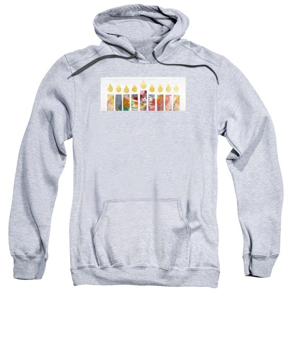 Menorah Sweatshirt featuring the painting Artists Menorah- Art By Linda Woods by Linda Woods