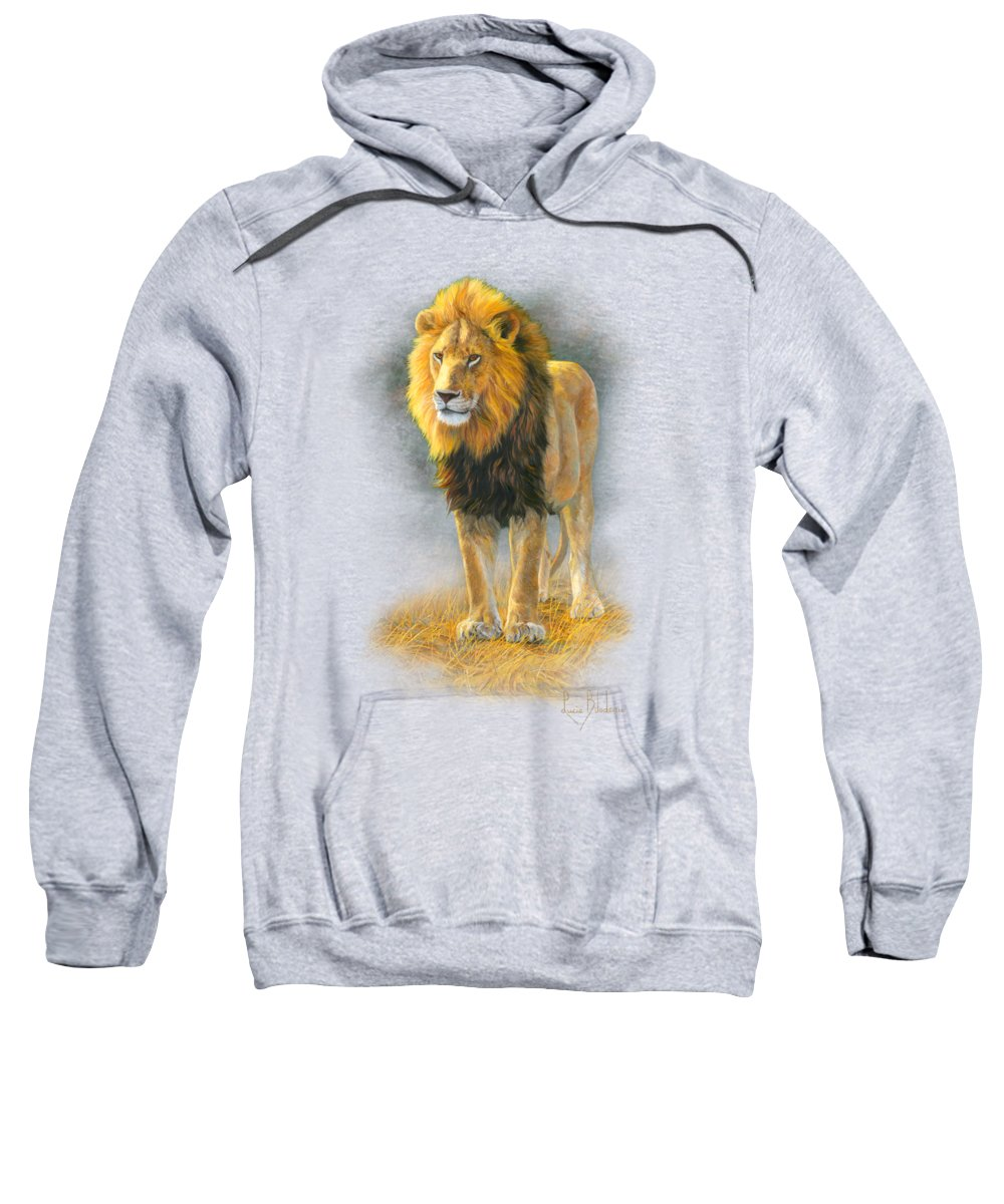 Lion Sweatshirt featuring the painting In His Prime by Lucie Bilodeau