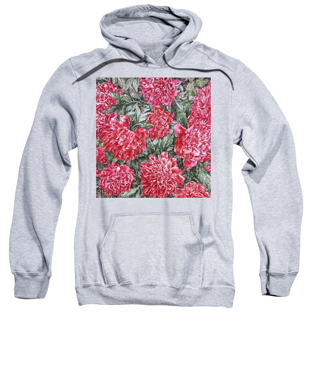 Peonies Sweatshirt featuring the painting Peonies Love by Kim Tran
