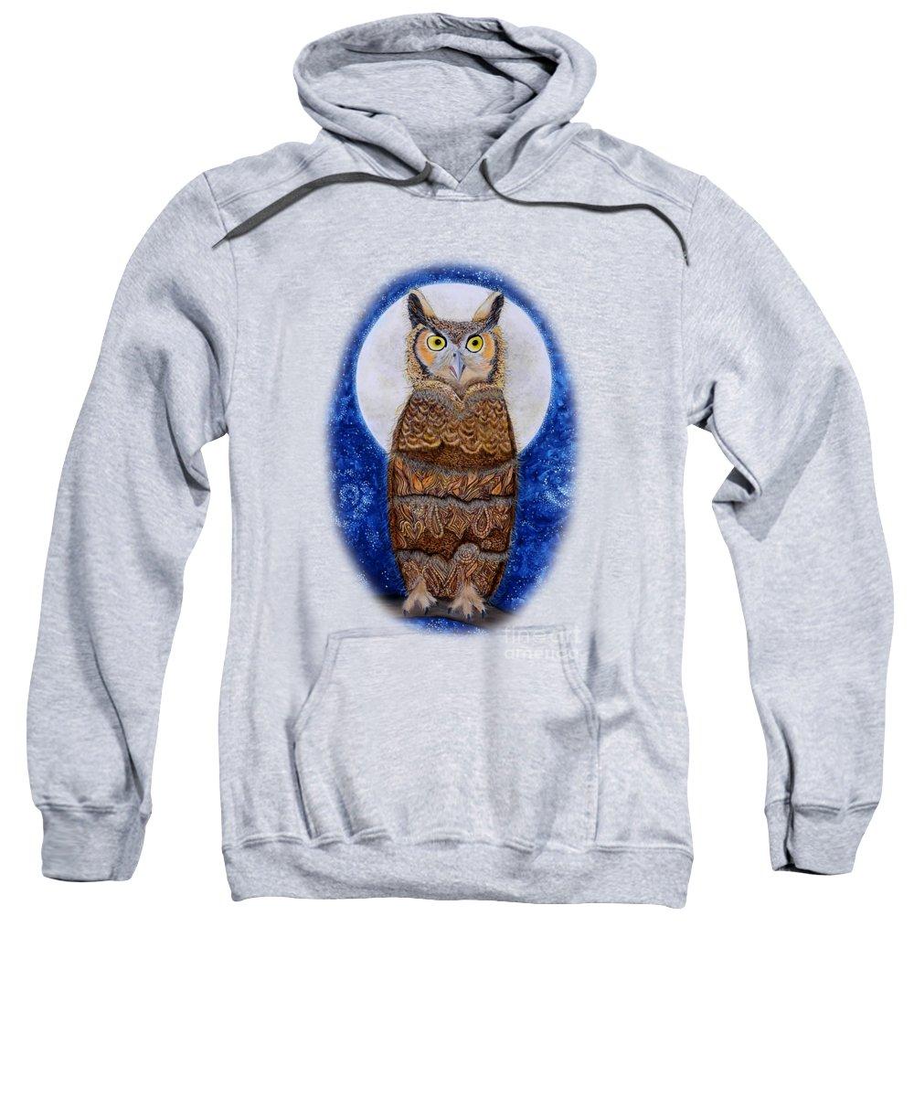 Owl Paintings Sweatshirt featuring the painting Paisley Moon by Deborha Kerr