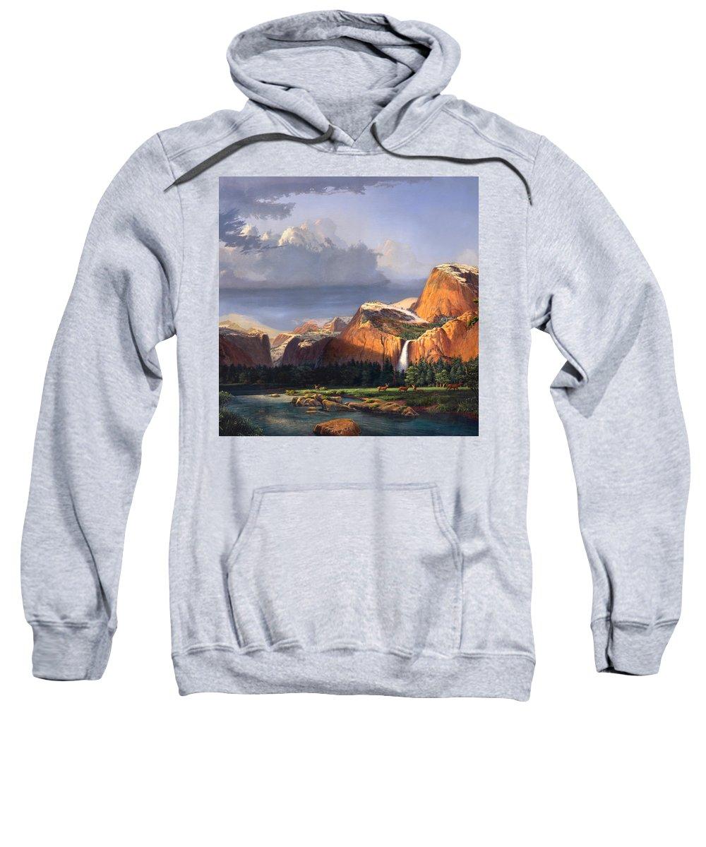 American Sweatshirt featuring the painting Deer Meadow Mountains Western Stream Deer Waterfall Landscape Oil Painting Stormy Sky Snow Scene by Walt Curlee