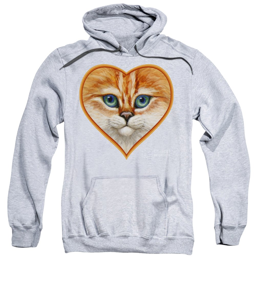 Cat Sweatshirt featuring the painting Happy Kitty by Crista Forest