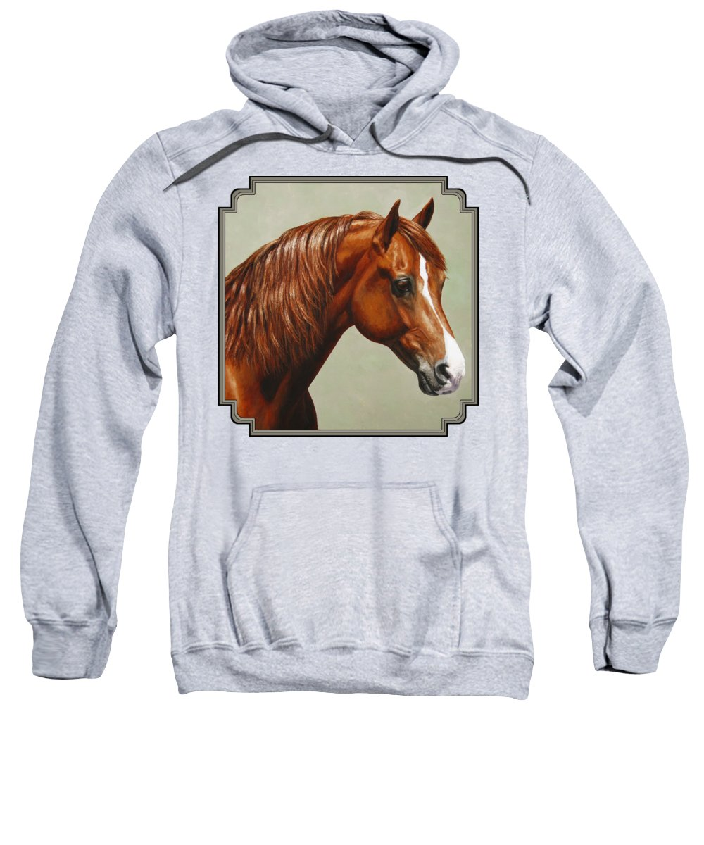 Horse Sweatshirt featuring the painting Morgan Horse - Flame by Crista Forest
