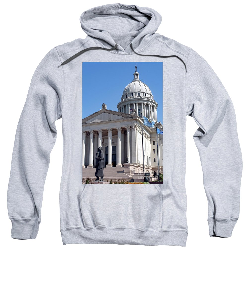 Oklahoma City Oklahoma Capitol Dome Domes Structure Structures Building Buildings Column Columns Statue Statues As Long As The Waters Flow Allan Houser Landmark Landmarks City Cities Cityscape Cityscapes Sweatshirt featuring the photograph As Long As The Waters Flow by Bob Phillips