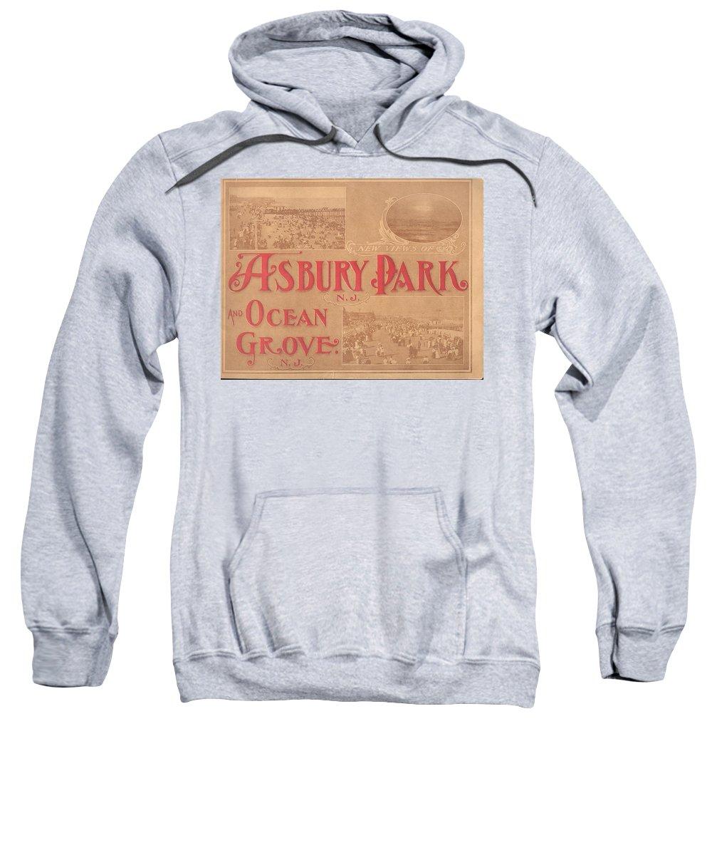 Asbury Park Sweatshirt featuring the mixed media Asbury Park And Ocean Grove by Newjerseyalmanac