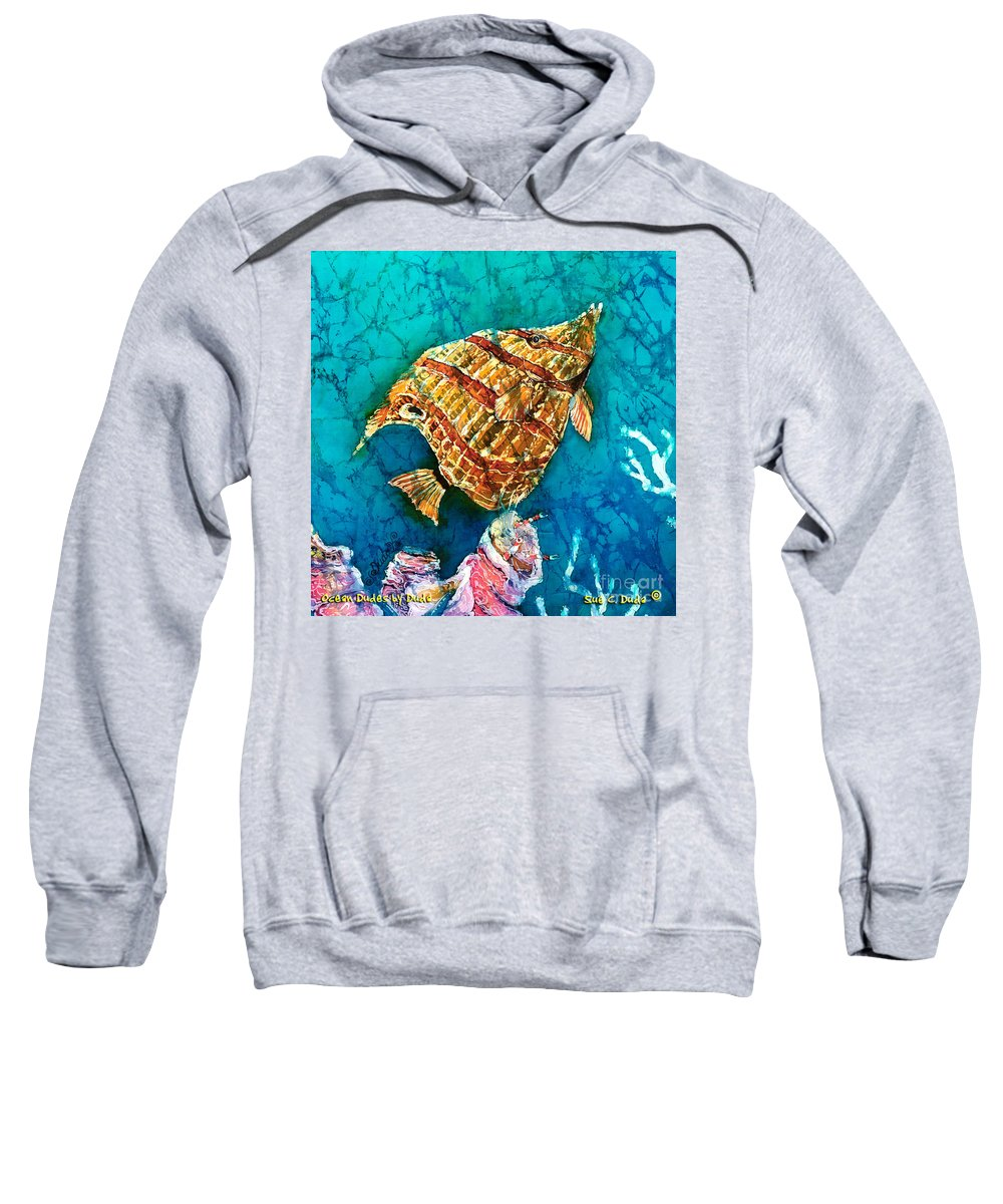 Beaked Butterflyfish Sweatshirt featuring the painting Ascending by Sue Duda