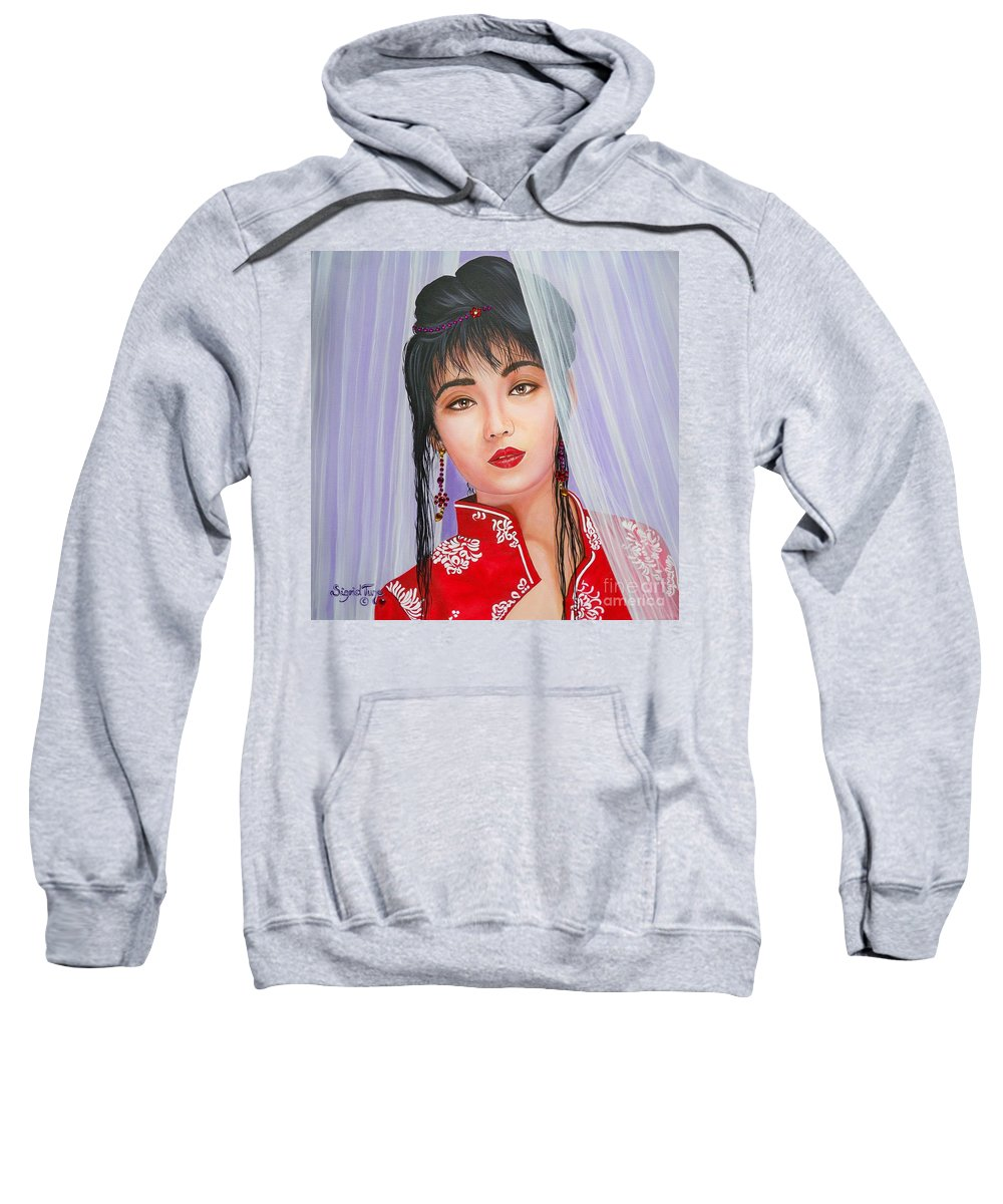 Asian Girl Sweatshirt featuring the painting Amenable Japanese Girl.       From The Attitude Girls by Sigrid Tune