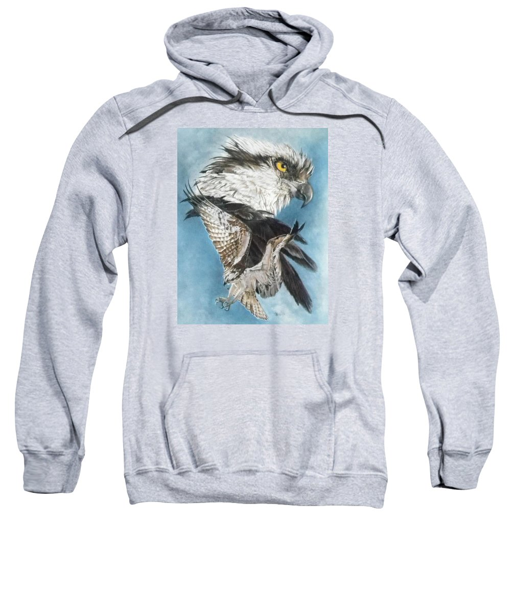 Osprey Sweatshirt featuring the mixed media Assail by Barbara Keith
