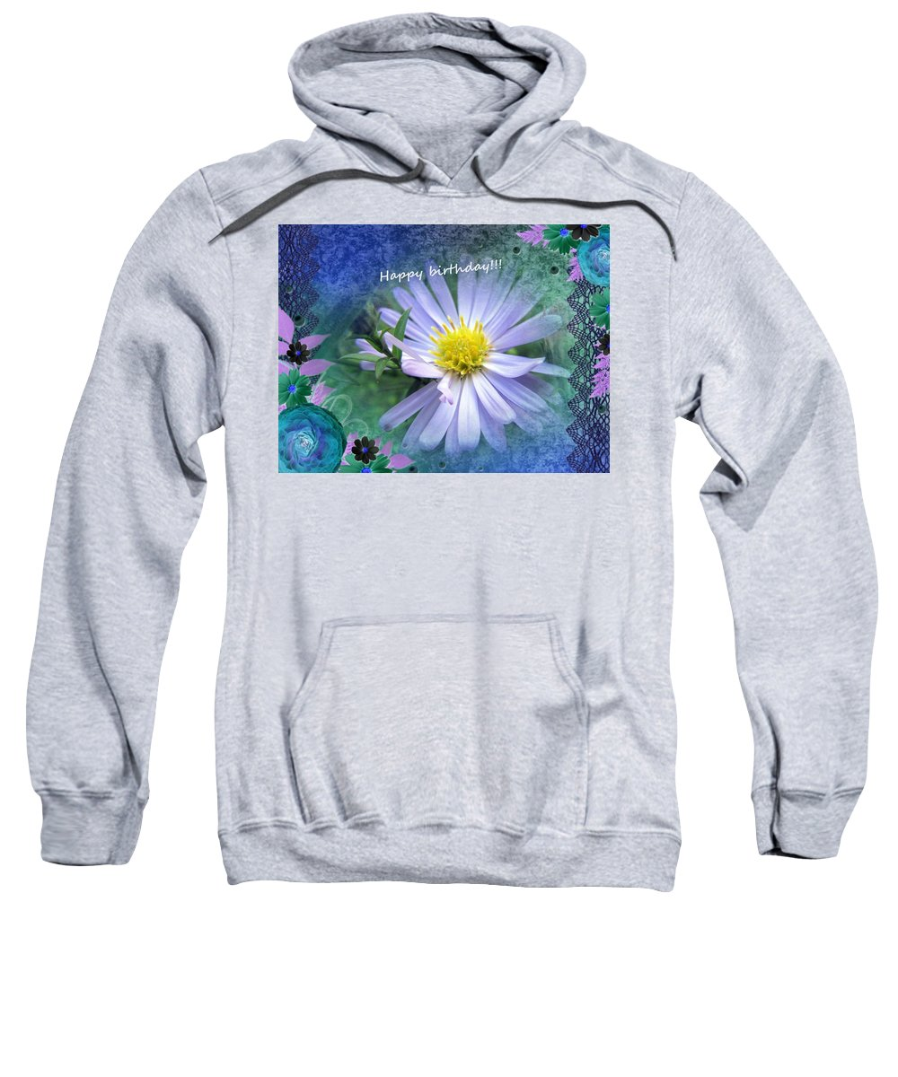 Flower Sweatshirt featuring the photograph Aster , Greeting Card by Vesna Martinjak
