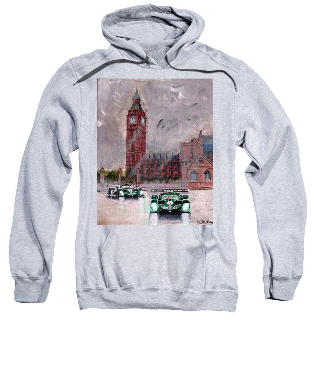 Aston Martin Sweatshirt featuring the painting Aston Martin Racing In London by Richard Le Page