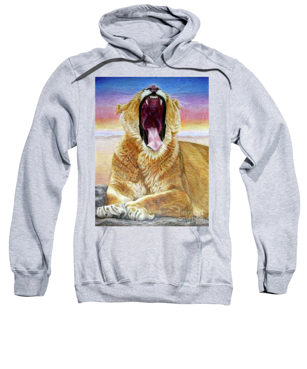 Wildlife Sweatshirt featuring the drawing At Days End by Beverly Fuqua