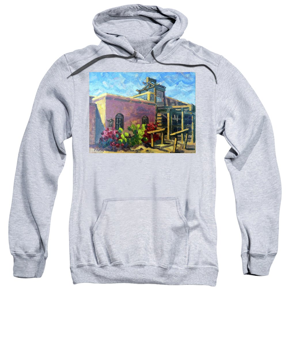 Plein Air Sweatshirt featuring the painting At Old Tucson by Ralph Papa