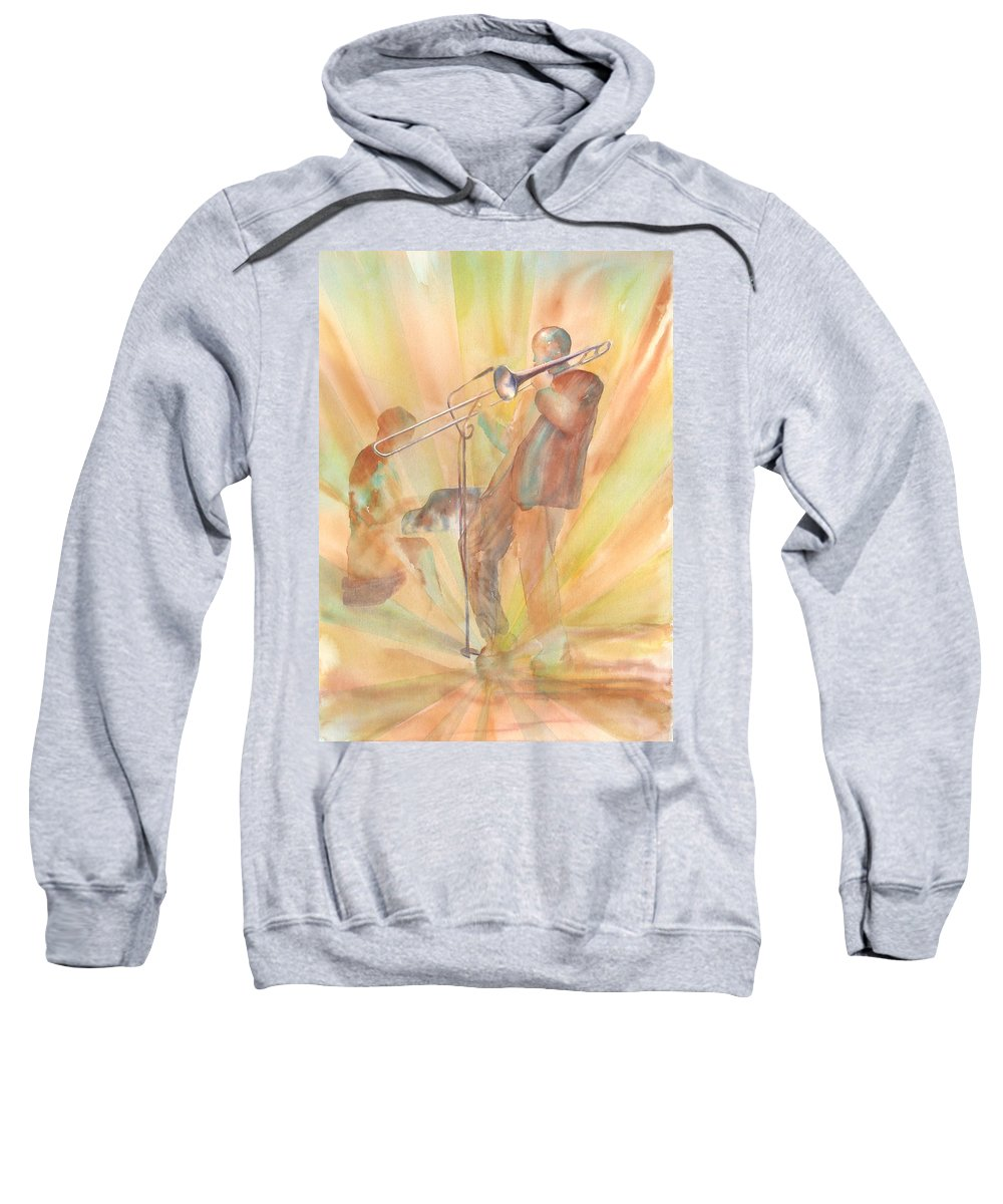 Watercolor Sweatshirt featuring the painting At One With The Music by Debbie Lewis