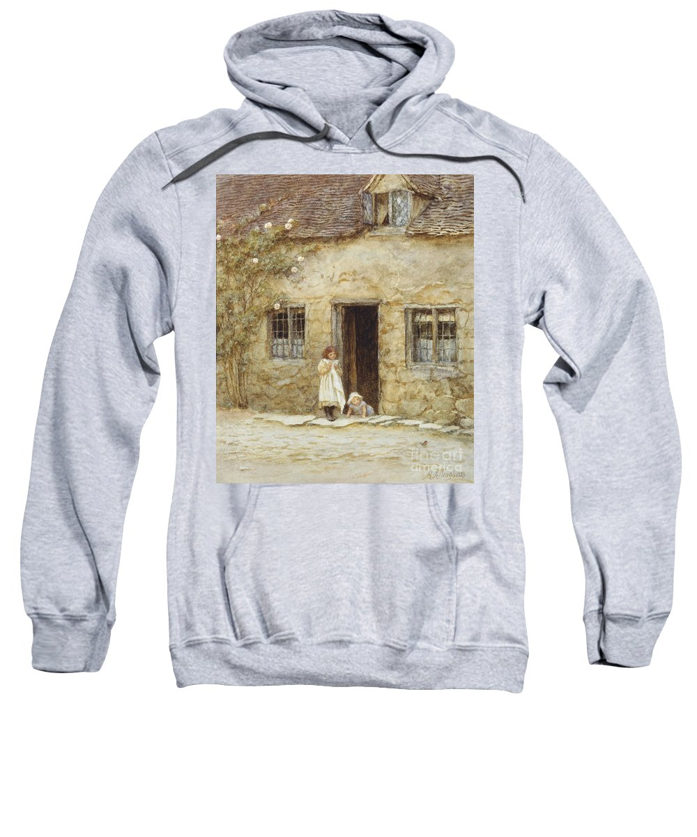 Exterior; Door; Child; Children; Girl; Victorian; C19th; C20th; Toddler; Climbing; Rose Sweatshirt featuring the painting At The Cottage Door by Helen Allingham