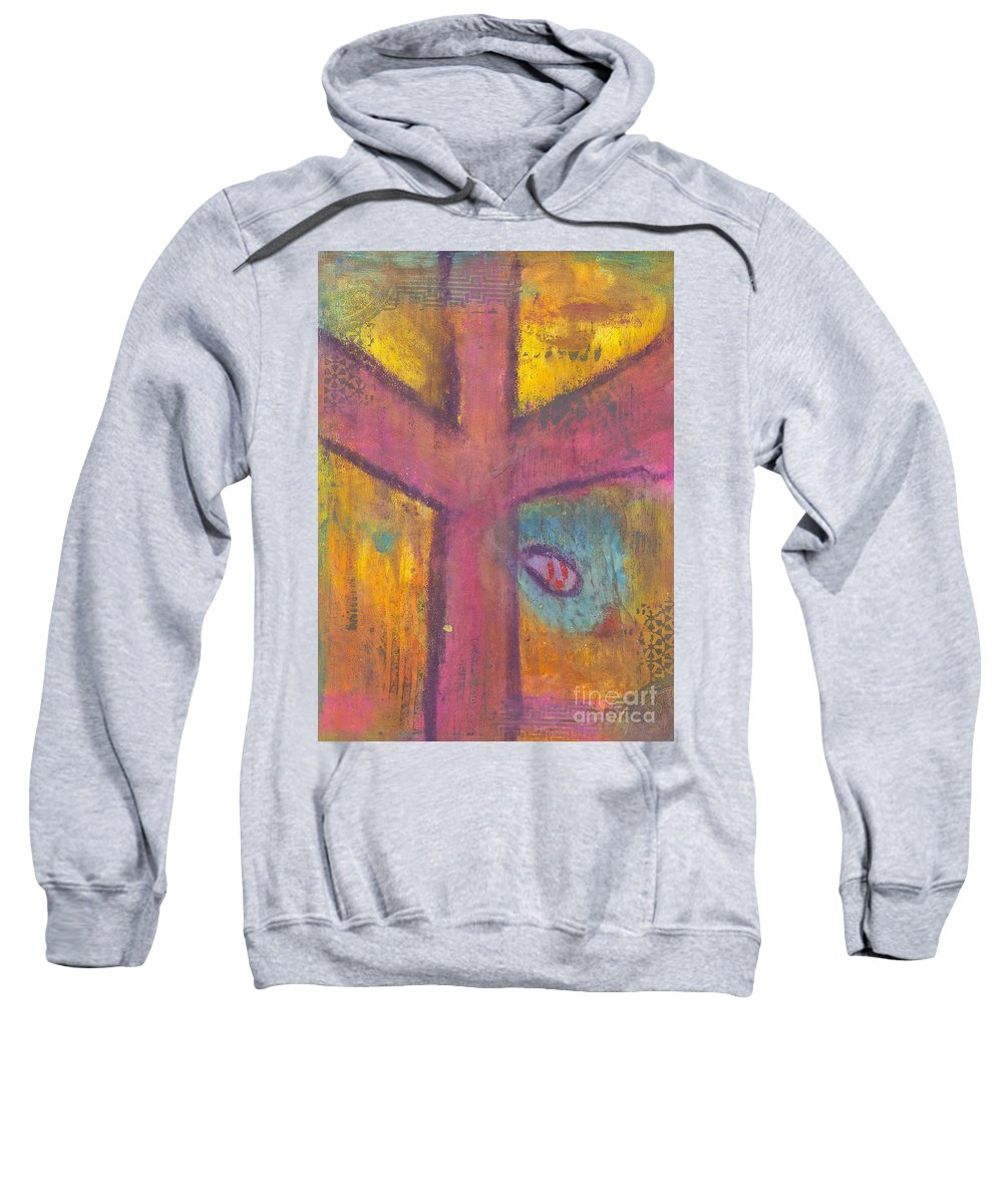 Cross Sweatshirt featuring the mixed media At The Cross by Angela L Walker