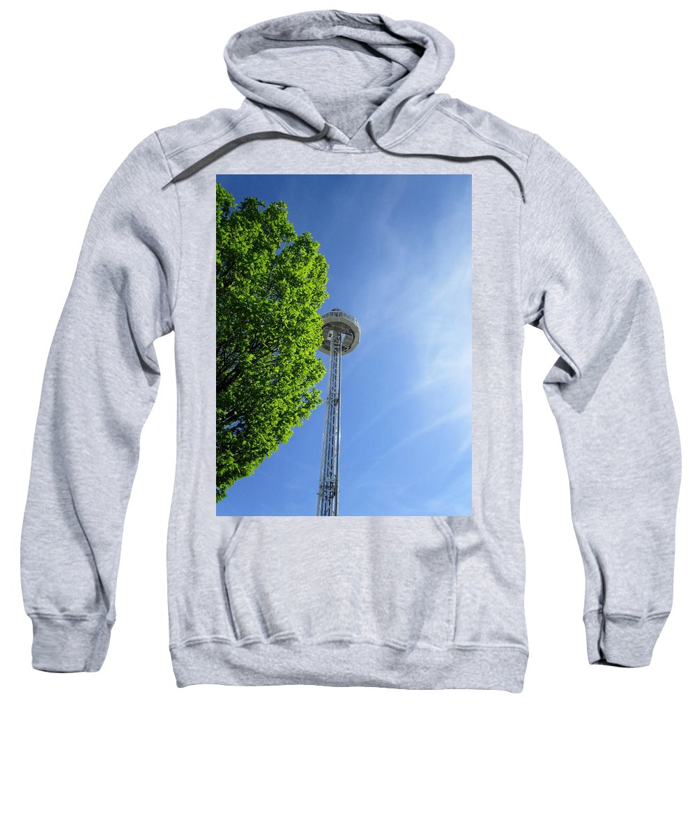 Skyview Tower Sweatshirt featuring the photograph At The Top by Rosita Larsson