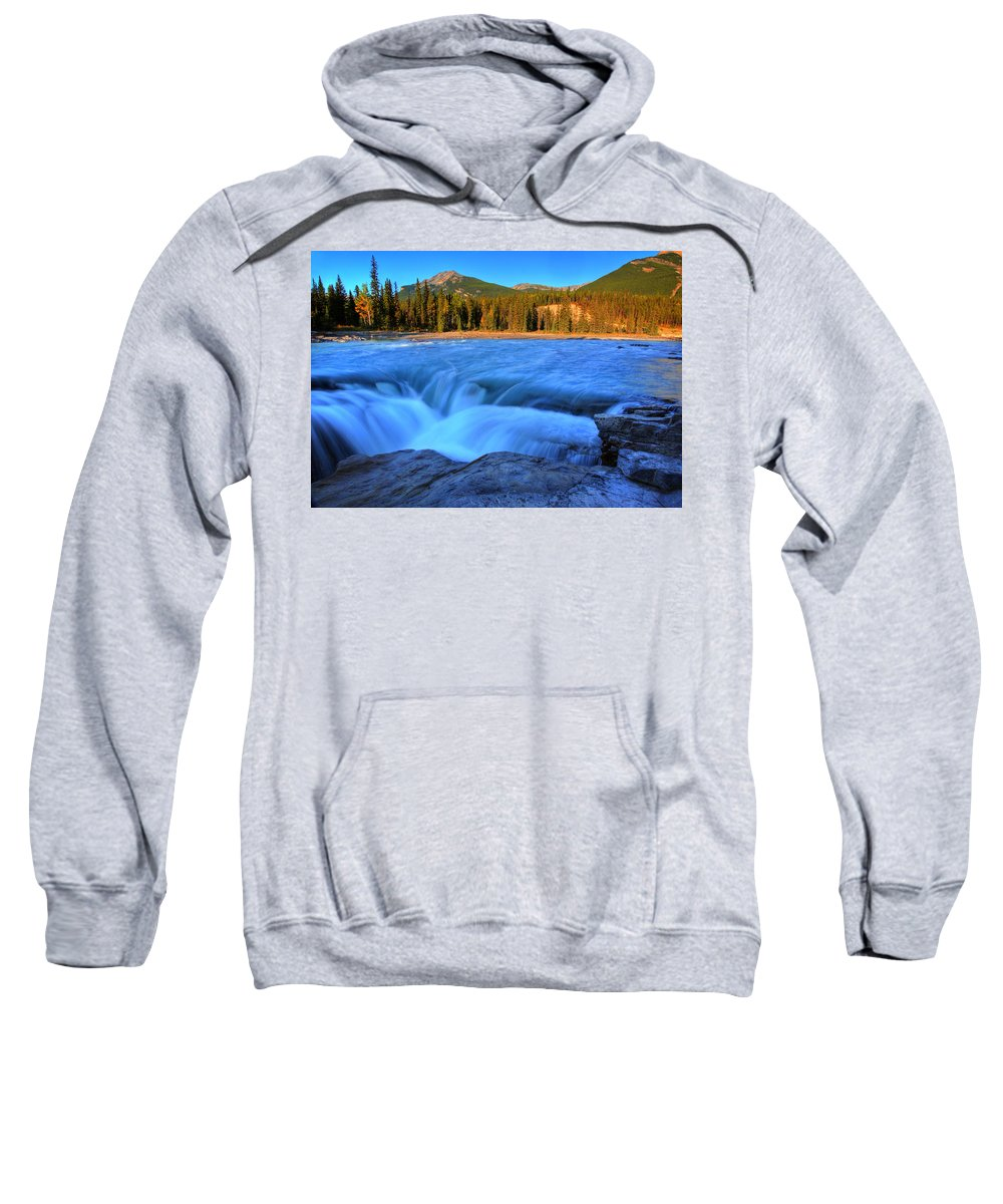 Athabasca River Sweatshirt featuring the digital art Athabasca Falls In Jasper National Park by Mark Duffy