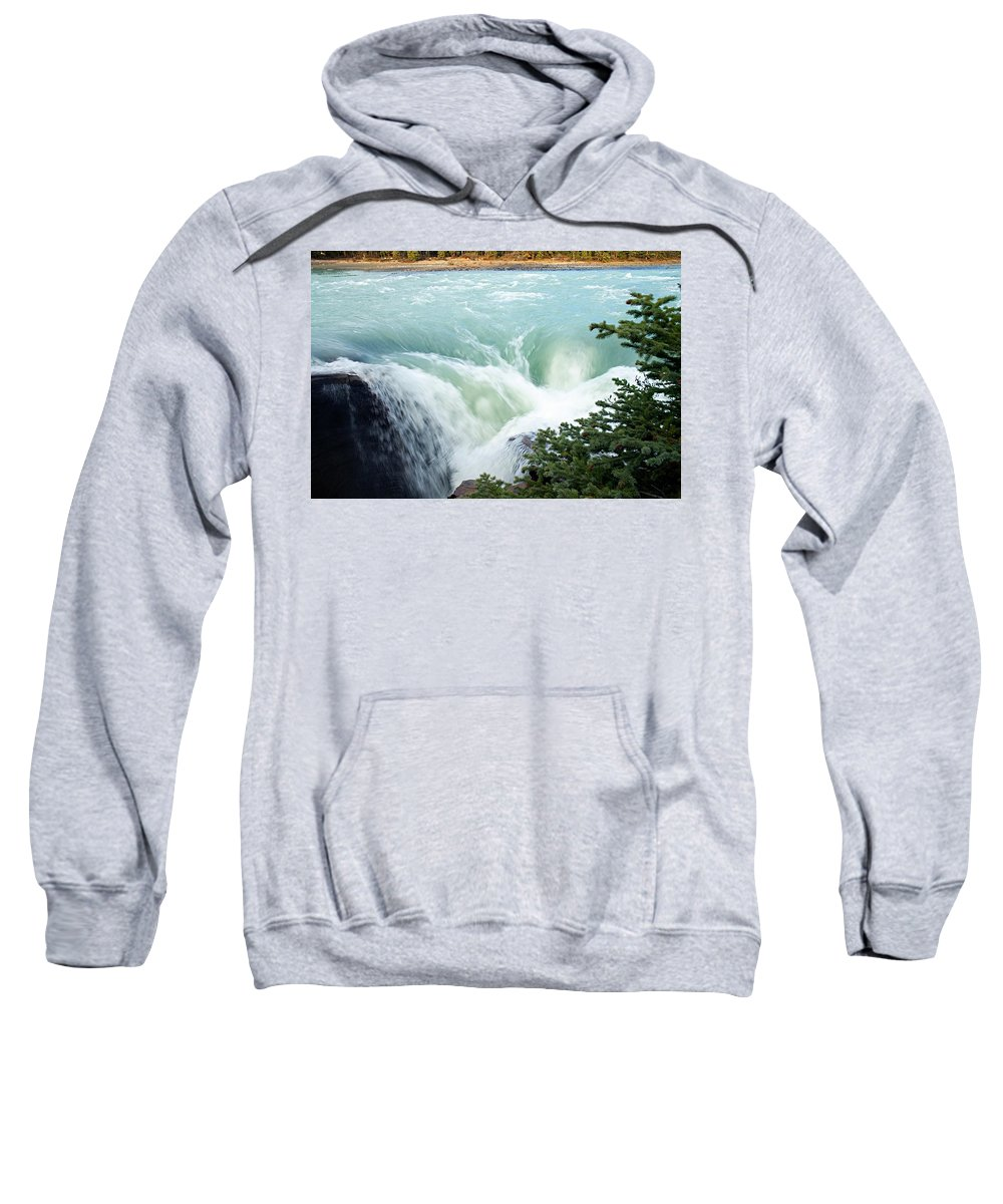 Athabasca Falls Sweatshirt featuring the photograph Athabasca Falls by Larry Ricker