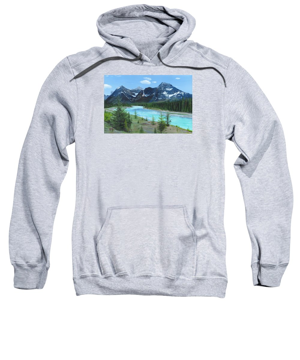 Athabasca River;canadian Rockies;rocky Mountains;jasper Sweatshirt featuring the painting Athabasca River by Glen Frear