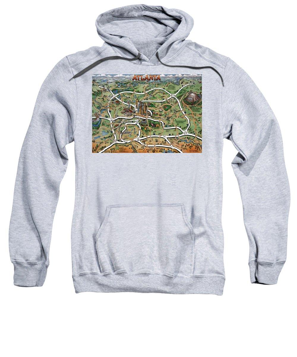 Atlanta Sweatshirt featuring the painting Atlanta Cartoon Map by Kevin Middleton