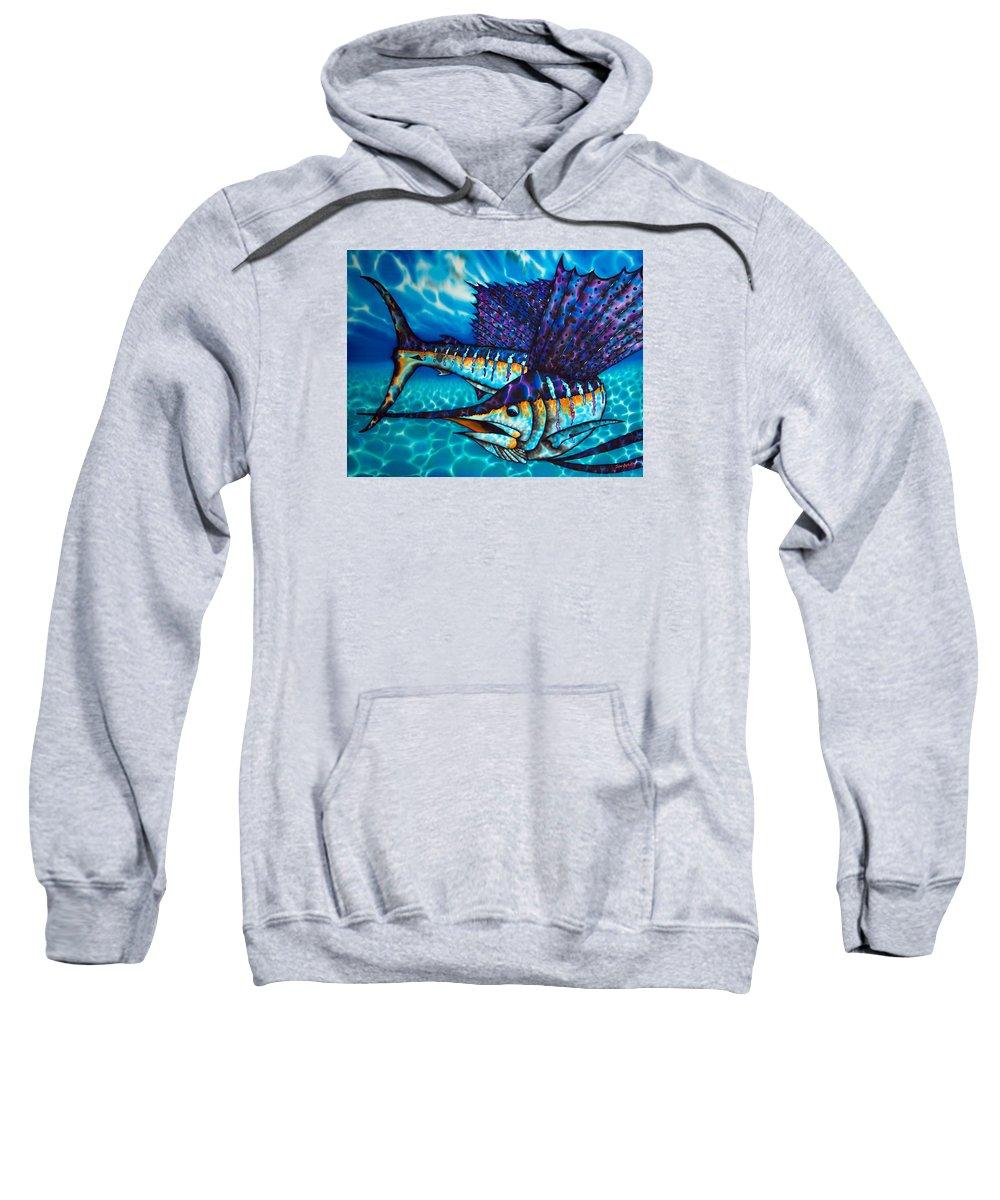 Sailfish Sweatshirt featuring the painting Atlantic Sailfish by Daniel Jean-Baptiste
