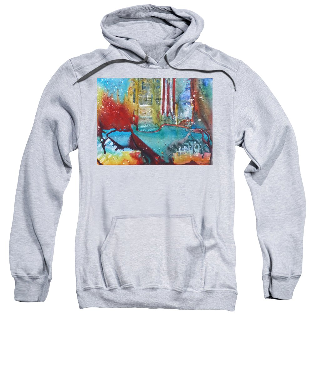 Abstract Sweatshirt featuring the painting Atlantis Crashing Into The Sea by Ruth Kamenev