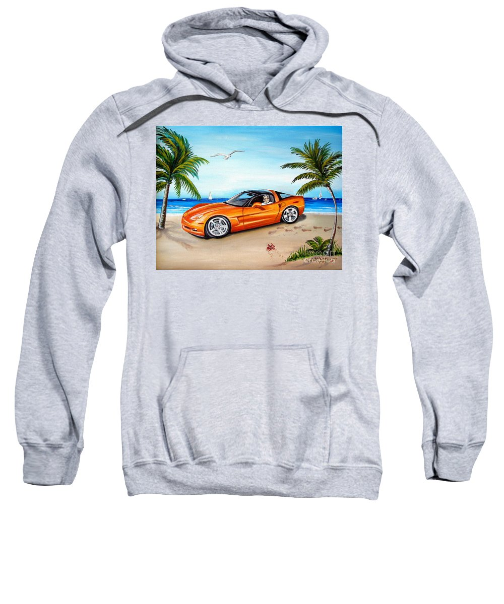 Oil Sweatshirt featuring the painting Atomic Orange by Elizabeth Robinette Tyndall