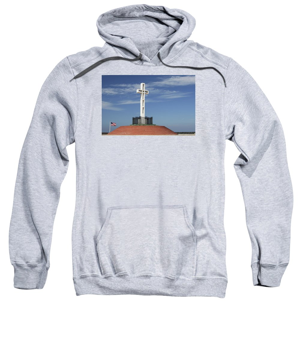 Mt Soledad Sweatshirt featuring the photograph Atop Mt Soledad by Margie Wildblood