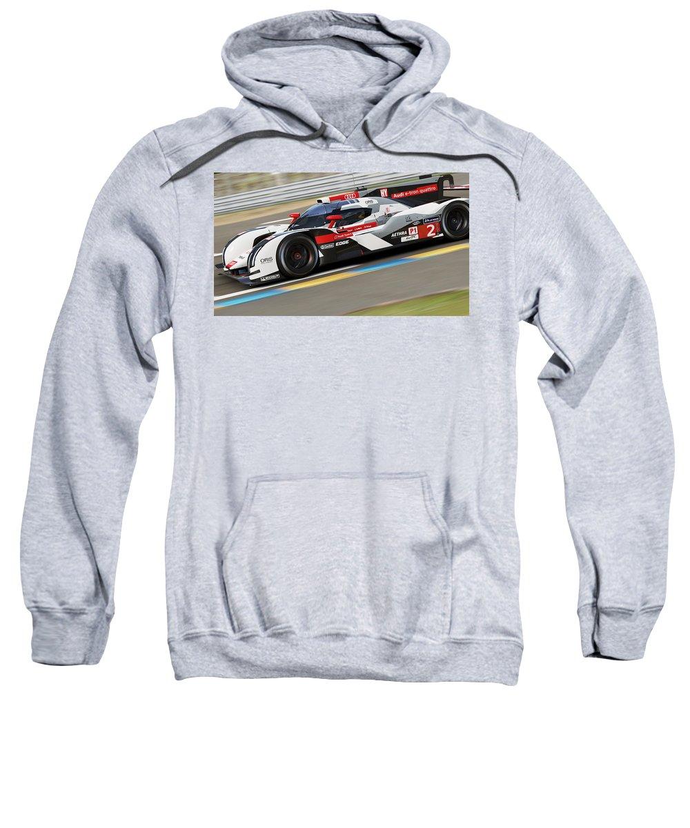 Audi Sweatshirt featuring the photograph Audi R18 E-tron, Le Mans - 11 by Andrea Mazzocchetti
