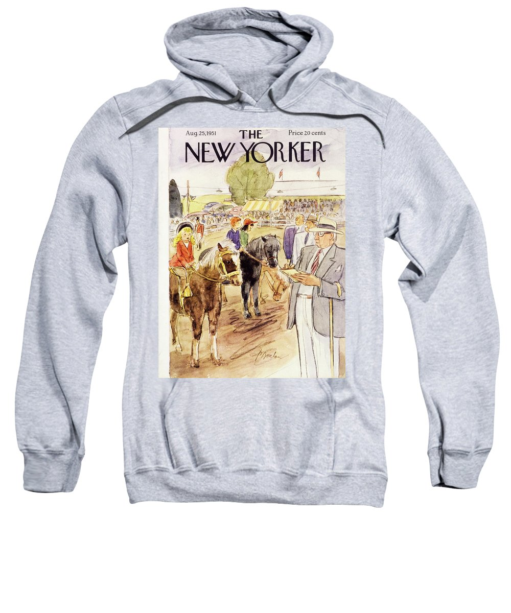 Horse Show Sweatshirt featuring the painting New Yorker August 25 1951 by Perry Barlow