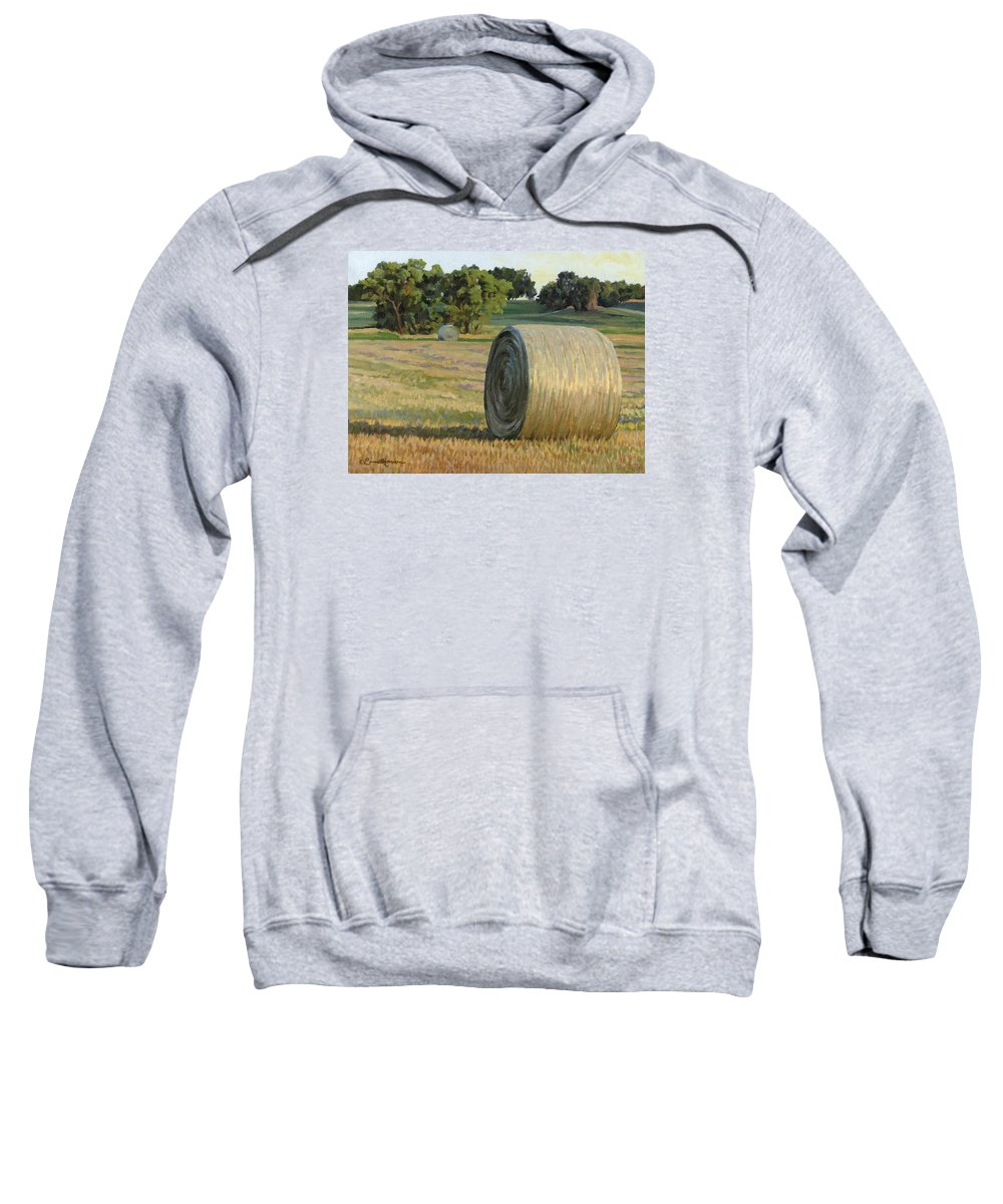 Landscape Sweatshirt featuring the painting August Bales by Bruce Morrison