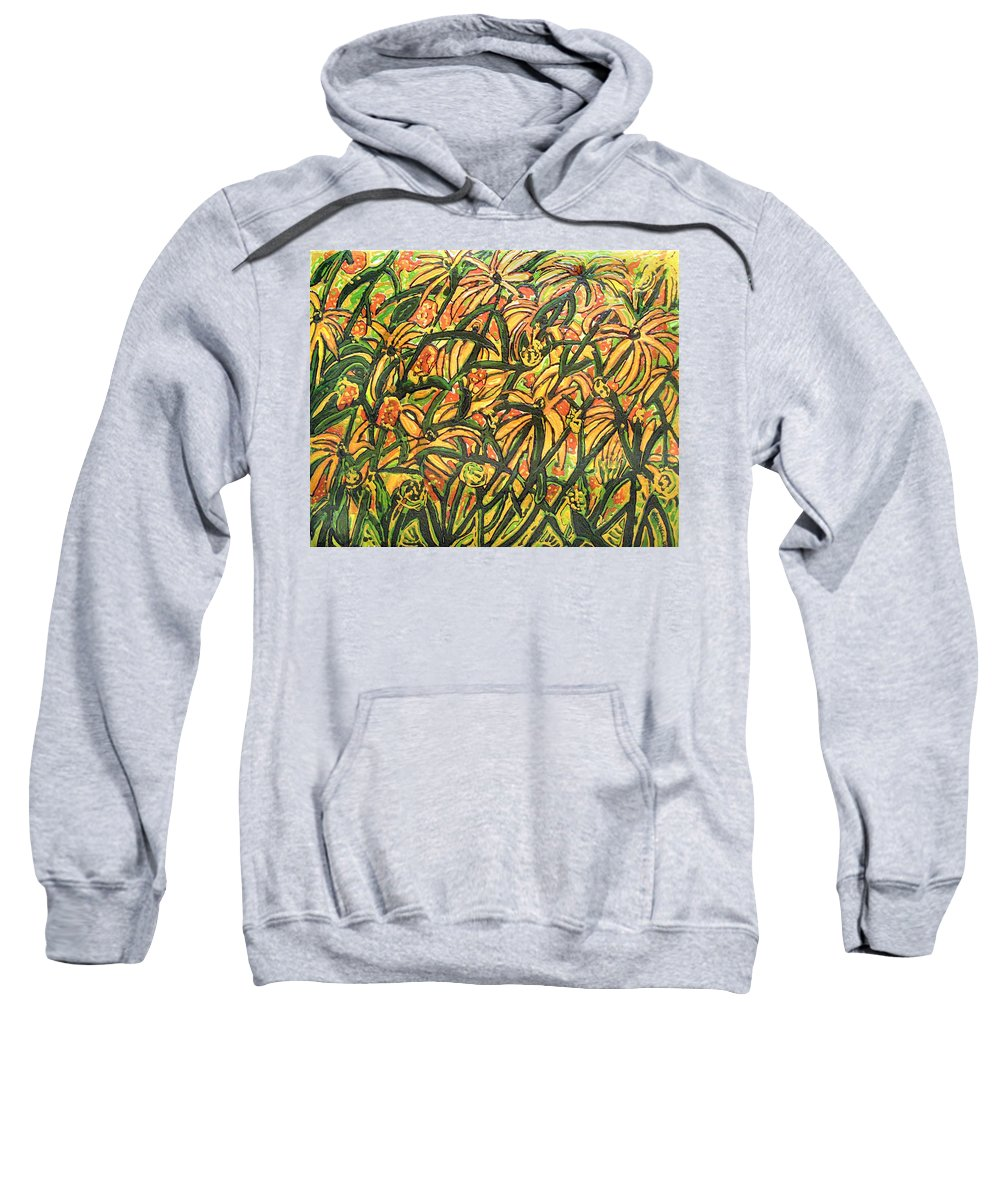 Colors Of August Sweatshirt featuring the painting August Floral by James O'Connell