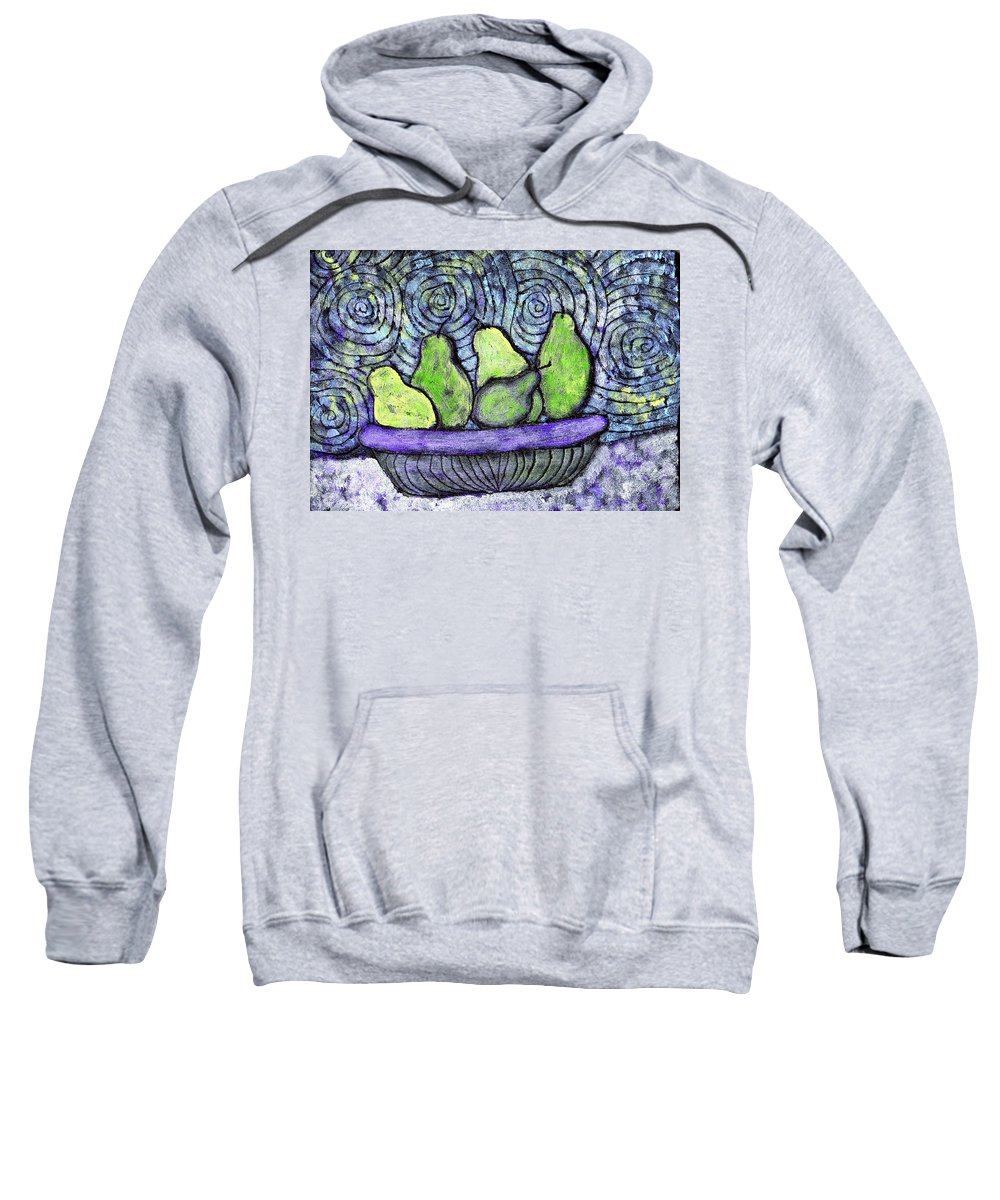 Food Sweatshirt featuring the painting August Pears by Wayne Potrafka