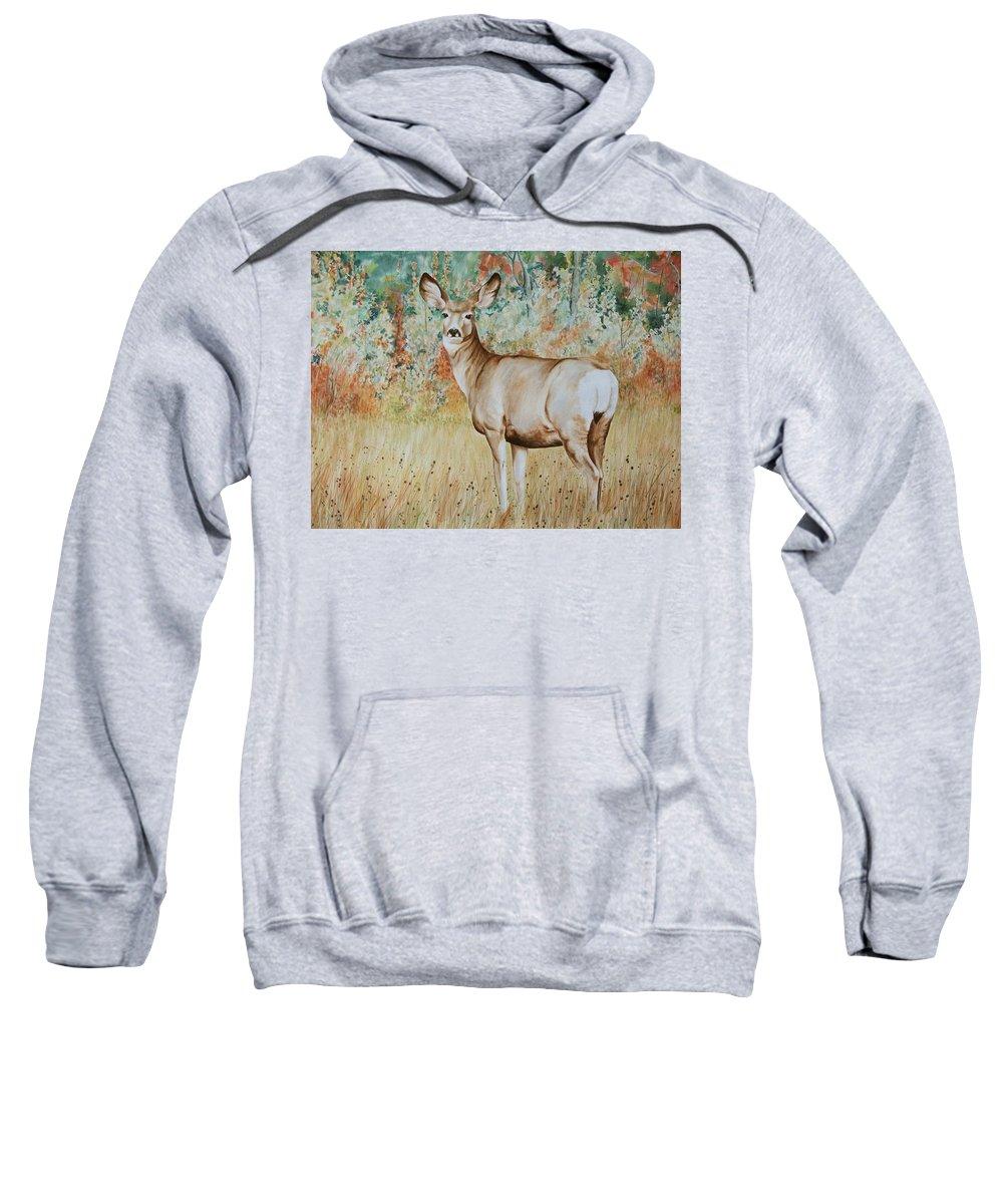 Wildlife Sweatshirt featuring the painting Autumn Beauty- Mule Deer Doe by Elaine Booth-Kallweit