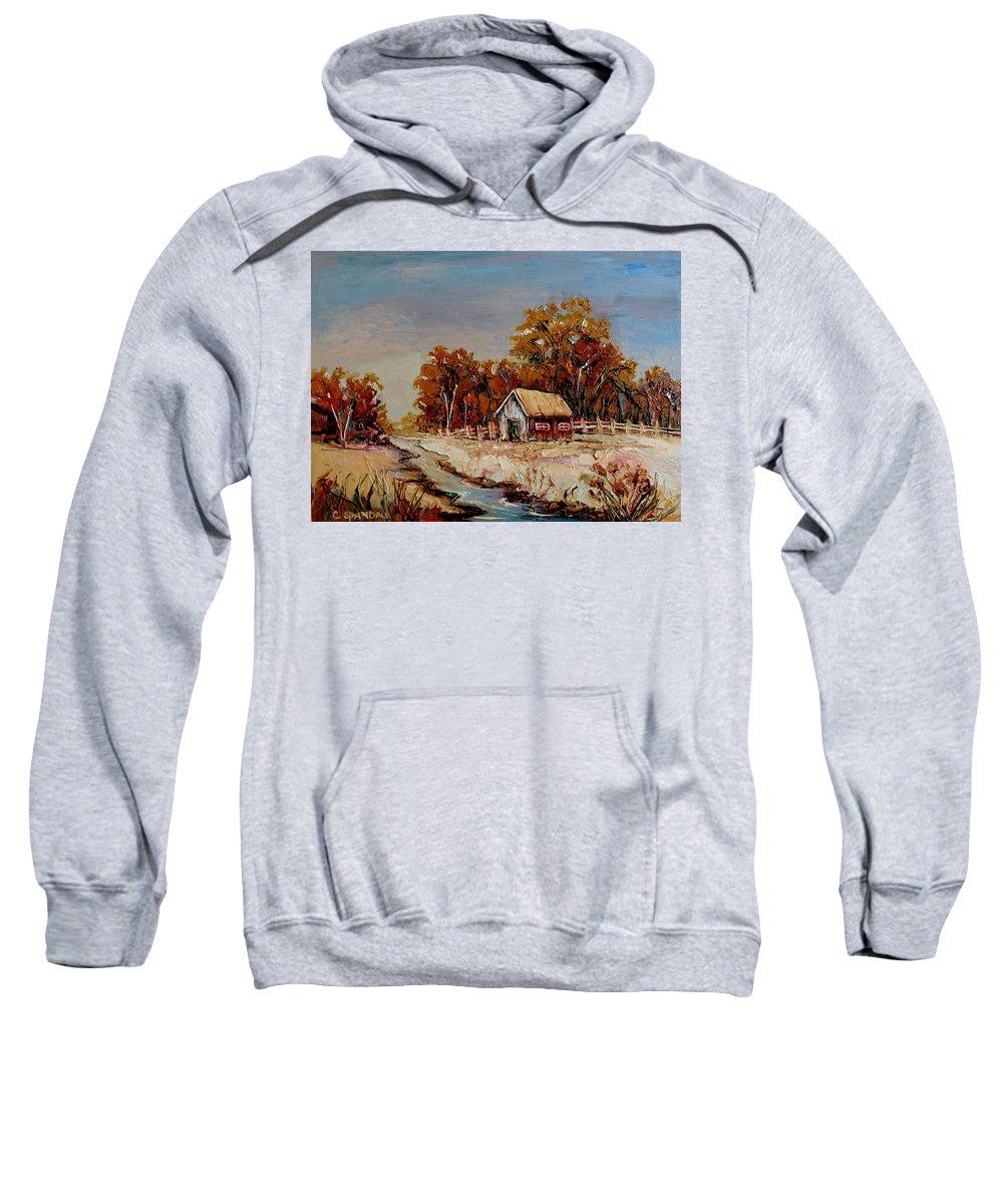 Autumn House By The Stream Sweatshirt featuring the painting Autumn House By The Stream by Carole Spandau